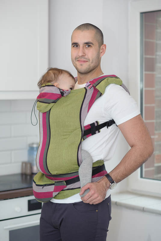 Ergonomic Carrier, Toddler Size, broken-twill weave 100% cotton - wrap conversion from LIME & KHAKI, Second Generation #babywearing