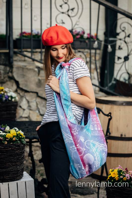 Hobo Bag made of woven fabric, 100% cotton - CITY OF LOVE #babywearing