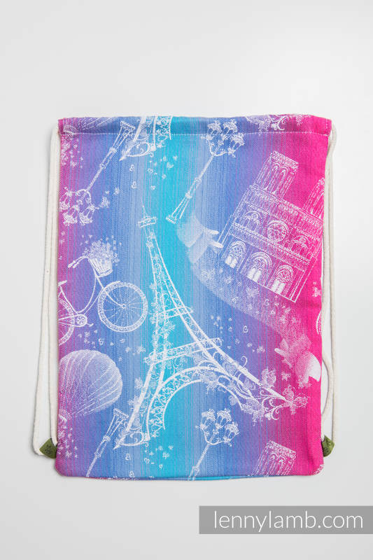 Sackpack made of wrap fabric (100% cotton) - CITY OF LOVE - standard size 32cmx43cm #babywearing