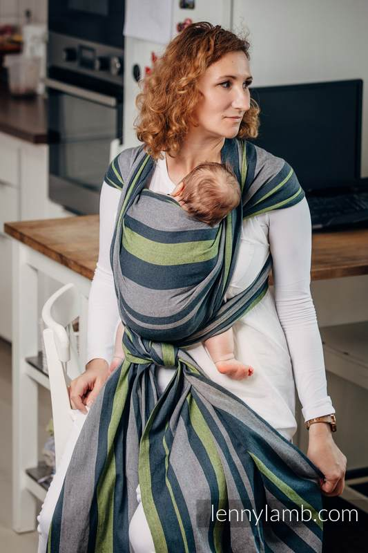 Baby Sling, Broken Twill Weave, 100% cotton,  SMOKY - LIME - size XL #babywearing