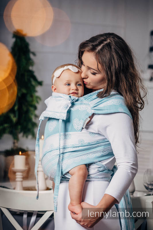 WRAP-TAI carrier Mini with hood/ jacquard twill / 60% cotton, 28% linen 12% tussah silk / ARCTIC LACE (grade B) #babywearing