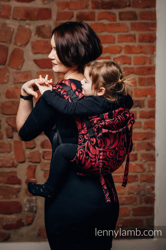 Lenny Buckle Onbuhimo, toddler size, jacquard weave (60% cotton 28% linen 12% tussah silk) - Wrap conversion from TWISTED LEAVES - PINCH OF CHILLI #babywearing