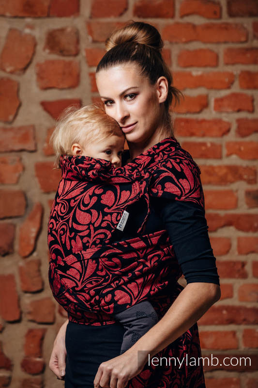 WRAP-TAI carrier Mini with hood/ jacquard twill / 60% cotton, 28% linen 12% tussah silk / TWISTED LEAVES - PINCH OF CHILLI #babywearing