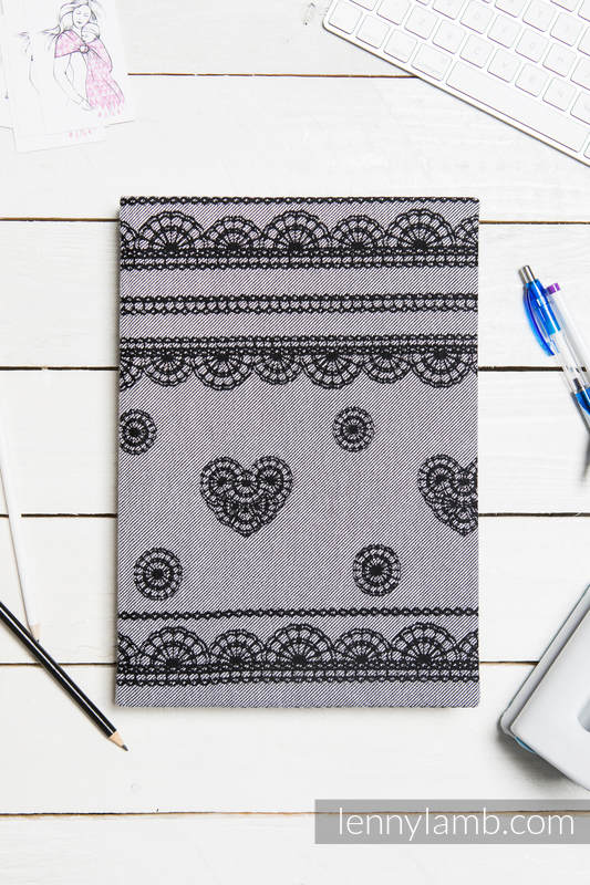 Calendar 2018 with jacquard fabric hard cover - size A4 - GLAMOROUS LACE REVERSE #babywearing