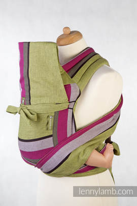 MEI-TAI carrier Toddler, broken-twill weave - 100% cotton - with hood, Lime & Khaki