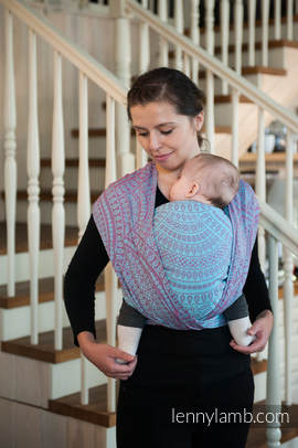 Baby Wrap, Jacquard Weave (100% cotton) - PEACOCK'S TAIL - size L (grade B)