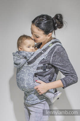 Ergonomic Carrier, Baby Size, jacquard weave 100% cotton - wrap conversion from PAISLEY NAVY BLUE & CREAM, Second Generation