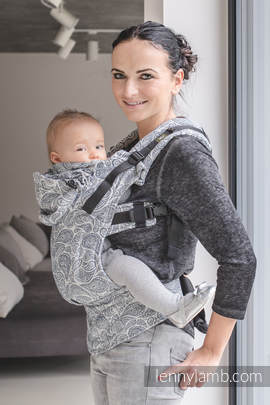 Ergonomic Carrier, Toddler Size, jacquard weave 100% cotton - wrap conversion from PAISLEY NAVY BLUE & CREAM, Second Generation