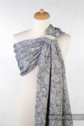 Ringsling, Jacquard Weave (100% cotton) - Paisley Navy Blue & Cream