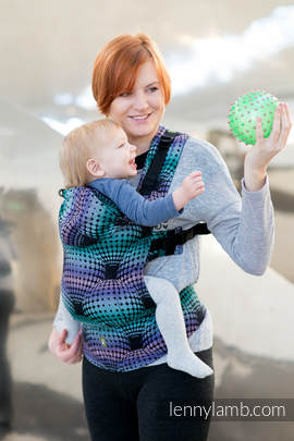 Ergonomic Carrier, Baby Size, jacquard weave 100% cotton - wrap conversion from DISCO BALLS - Second Generation. (grade B)
