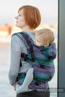 Ergonomic Carrier, Toddler Size, jacquard weave 100% cotton - wrap conversion from DISCO BALLS - Second Generation.