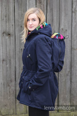 Parka Babywearing Coat - size 4XL - Navy Blue & Customized Finishing