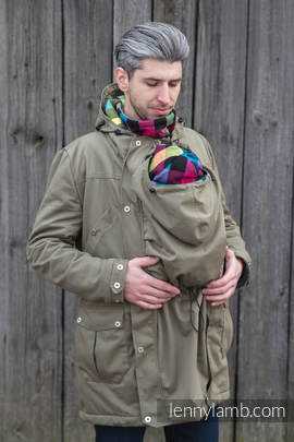 Parka Babywearing Coat - size XS - Khaki & Diamond Plaid