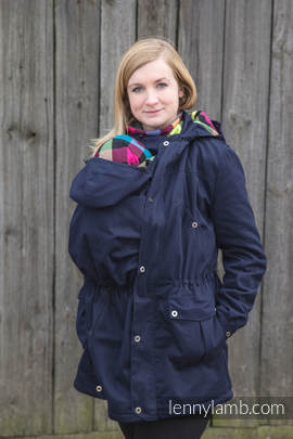 Parka Babywearing Coat - size 6XL - Navy Blue & Diamond Plaid