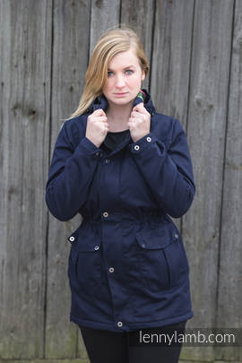 Parka Coat - size XL - Navy Blue & Diamond Plaid