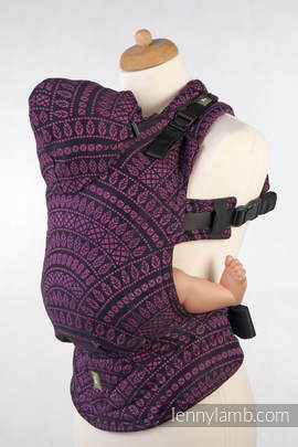 Ergonomic Carrier, Toddler Size, jacquard weave 100% cotton - wrap conversion from PEACOCK'S TAIL PURPLE & BLACK, Second Generation (grade B)