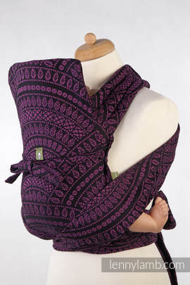 MEI-TAI carrier Mini, jacquard weave - 100% cotton - with hood, PEACOCK'S TAIL PURPLE & BLACK