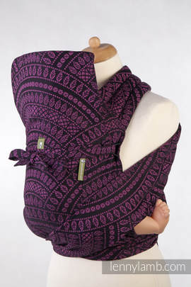 MEI-TAI carrier Toddler, jacquard weave - 100% cotton - with hood, PEACOCK'S TAIL PURPLE & BLACK