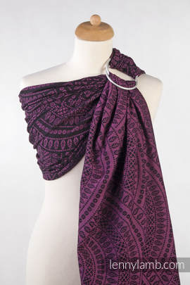 Ringsling, Jacquard Weave (100% cotton) - PEACOCK'S TAIL PURPLE & BLACK - with gathered shoulder