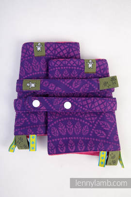 Drool Pads & Reach Straps Set, (100% cotton) - PEACOCK'S TAIL PURPLE & PINK