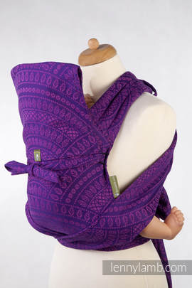 MEI-TAI carrier Mini, jacquard weave - 100% cotton - with hood, PEACOCK'S TAIL PURPLE & PINK