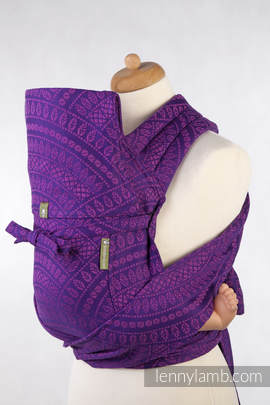 MEI-TAI carrier Toddler, jacquard weave - 100% cotton - with hood, PEACOCK'S TAIL PURPLE & PINK
