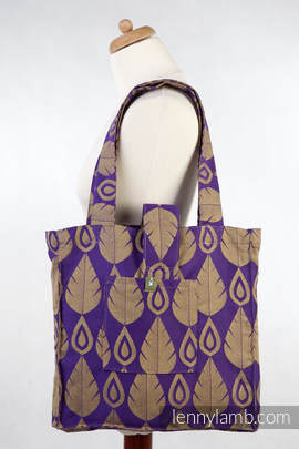 Shoulder bag (made of wrap fabric) - NORTHERN LEAVES PURPLE & YELLOW - standard size 37cmx37cm