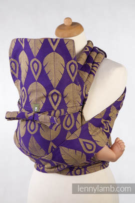 MEI-TAI carrier Mini, jacquard weave - 100% cotton - with hood, NORTHERN LEAVES PURPLE & YELLOW (grade B)