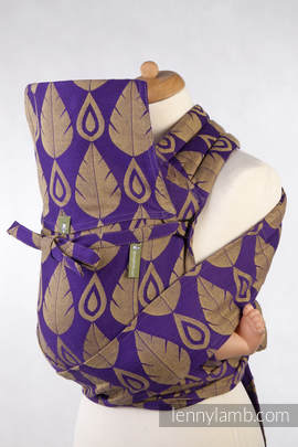MEI-TAI carrier Toddler, jacquard weave - 100% cotton - with hood, NORTHERN LEAVES PURPLE & YELLOW