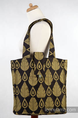 Shoulder bag (made of wrap fabric) - NORTHERN LEAVES BLACK & YELLOW - standard size 37cmx37cm