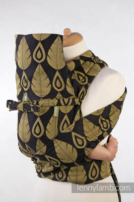 MEI-TAI carrier Toddler, jacquard weave - 100% cotton - with hood, NORTHERN LEAVES BLACK & YELLOW
