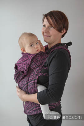 Ergonomic Carrier, Baby Size, jacquard weave 100% cotton - wrap conversion from PEACOCK'S TAIL PURPLE & BLACK, Second Generation (grade B)