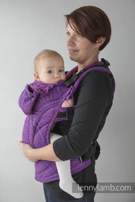 Ergonomic Carrier, Baby Size, jacquard weave 100% cotton - wrap conversion from PEACOCK'S TAIL PURPLE & PINK, Second Generation (grade B)