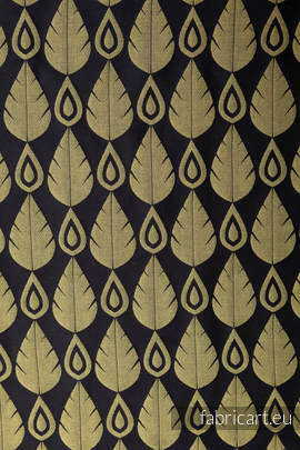 NORTHERN LEAVES BLACK & YELLOW, jacquard weave fabric, 100% cotton, width 140 cm, weight 270 g/m²