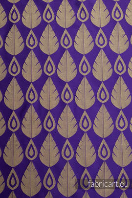 NORTHERN LEAVES PURPLE & YELLOW, jacquard weave fabric, 100% cotton, width 140 cm, weight 270 g/m²