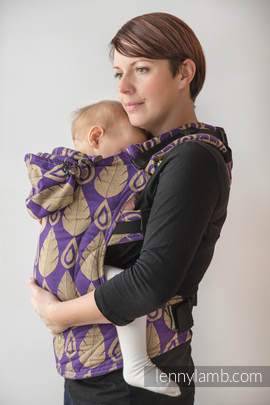 Ergonomic Carrier, Toddler Size, jacquard weave 100% cotton - wrap conversion from NORTHERN LEAVES PURPLE & YELLOW, Second Generation