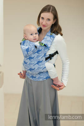 Ergonomic Carrier, Toddler Size, jacquard weave 100% cotton - BLUE TWOROOS, Second Generation