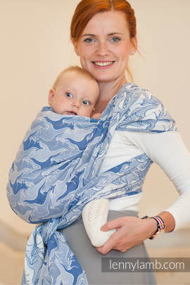 Baby Wrap, Jacquard Weave (100% cotton) - BLUE TWOROOS- size L (grade B)