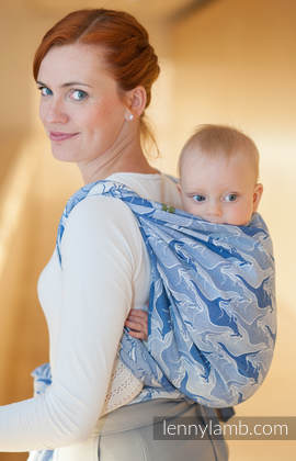Baby Wrap, Jacquard Weave (100% cotton) - BLUE TWOROOS - size XS