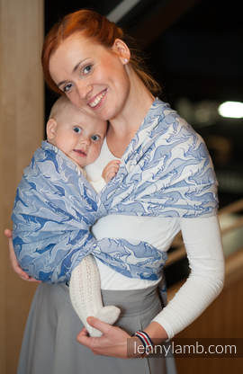Baby Wrap, Jacquard Weave (100% cotton) - BLUE TWOROOS- size M (grade B)