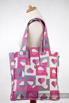 Shoulder bag made of wrap fabric (100% cotton) - HEARTBEAT - ABIGAIL - standard size 37cmx37cm (grade B)