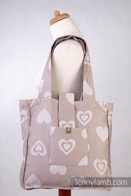 Shoulder bag made of wrap fabric (84% cotton, 16% linen) - SWEETHEART BEIGE & CREME - standard size 37cmx37cm