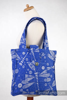Shoulder bag made of wrap fabric (100% cotton) - DRAGONFLY BLUE & WHITE - standard size 37cmx37cm
