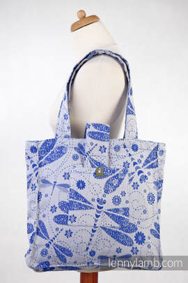 Shoulder bag made of wrap fabric (100% cotton) - DRAGONFLY WHITE & BLUE - standard size 37cmx37cm