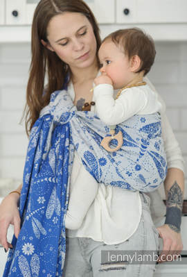 Ringsling, Jacquard Weave (100% cotton) - with gathered shoulder - DRAGONFLY BLUE & WHITE