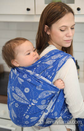 Baby Wrap, Jacquard Weave (100% cotton) - DRAGONFLY BLUE & WHITE - size M