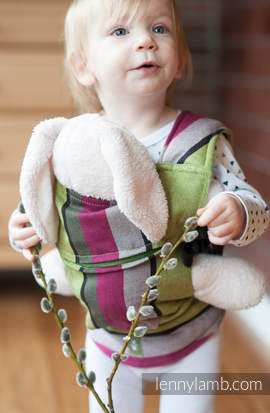 Doll Carrier made of woven fabric, 100% cotton  - LIME & KHAKI
