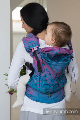 Ergonomic Carrier, Toddler Size, jacquard weave 100% cotton - wrap conversion from DREAM TREE BLUE & PINK, Second Generation