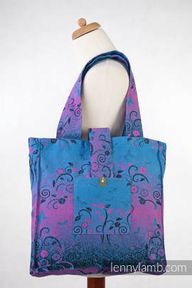 Shoulder bag made of wrap fabric (100% cotton) - DREAM TREE BLUE & PINK- standard size 37cmx37cm