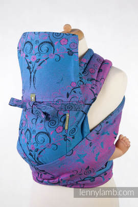 Mei Tai carrier Toddler with hood/ jacquard twill / 100% cotton /  DREAM TREE BLUE & PINK